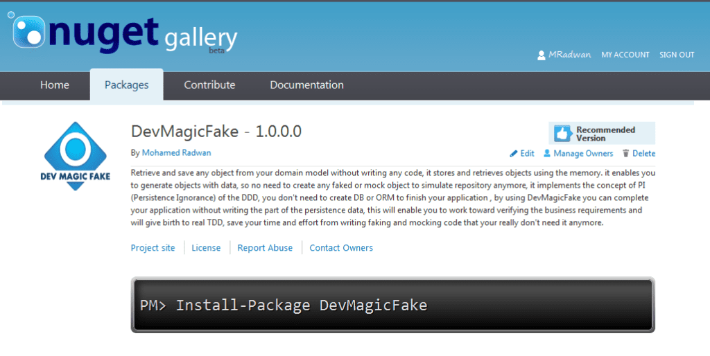 DevMagicFake on NuGet website