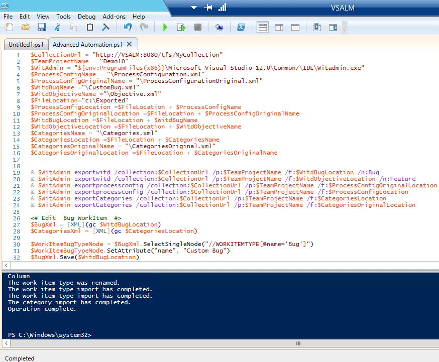 PowerShell for Backlog TFS 2013