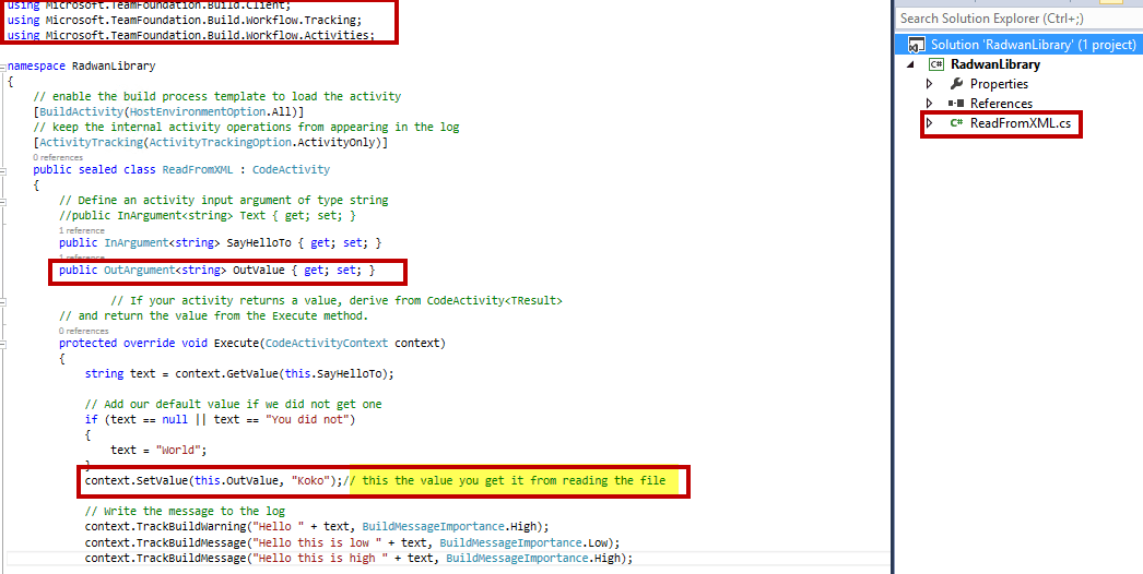 OutArguemnt in TFS Custom activity