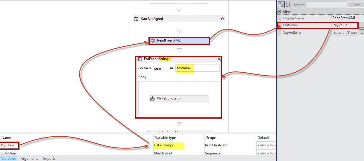 ReadFromXML Activity for list of string