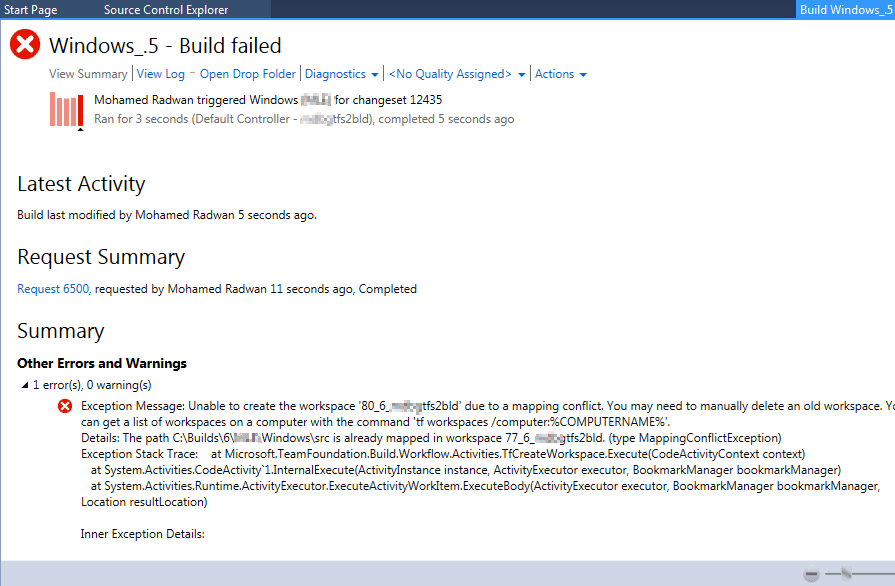 Unable to create the workspace due to a mapping conflict
