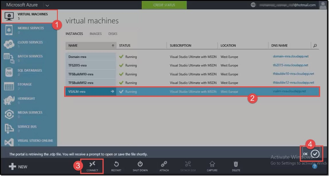 17-Connect to windows azure virtual machine by downloading rdp file