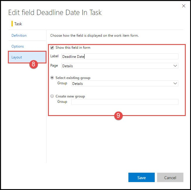 4-3 Editing custom field layout in VSTS