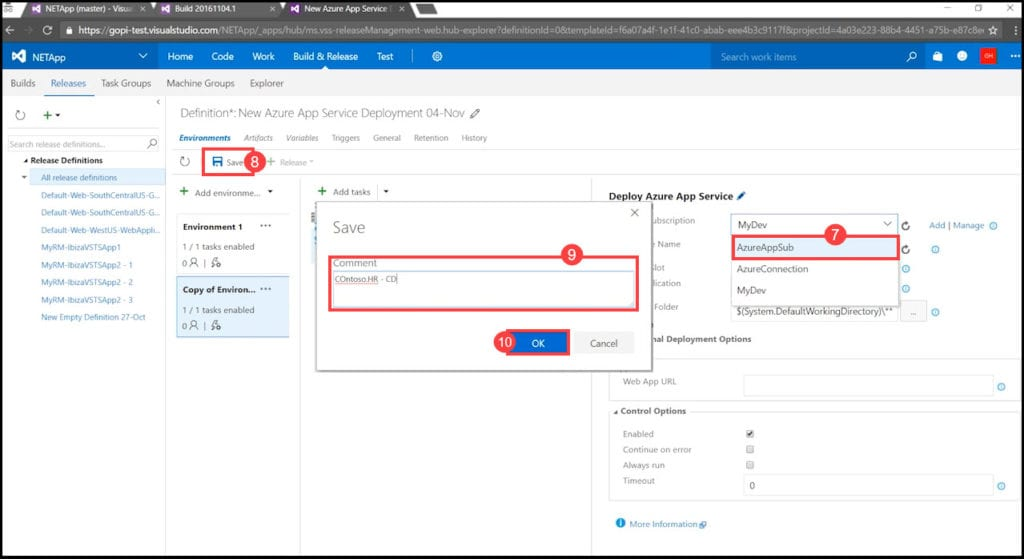 4.3 - Choosing an Azure subscription to be used for production in VSTS