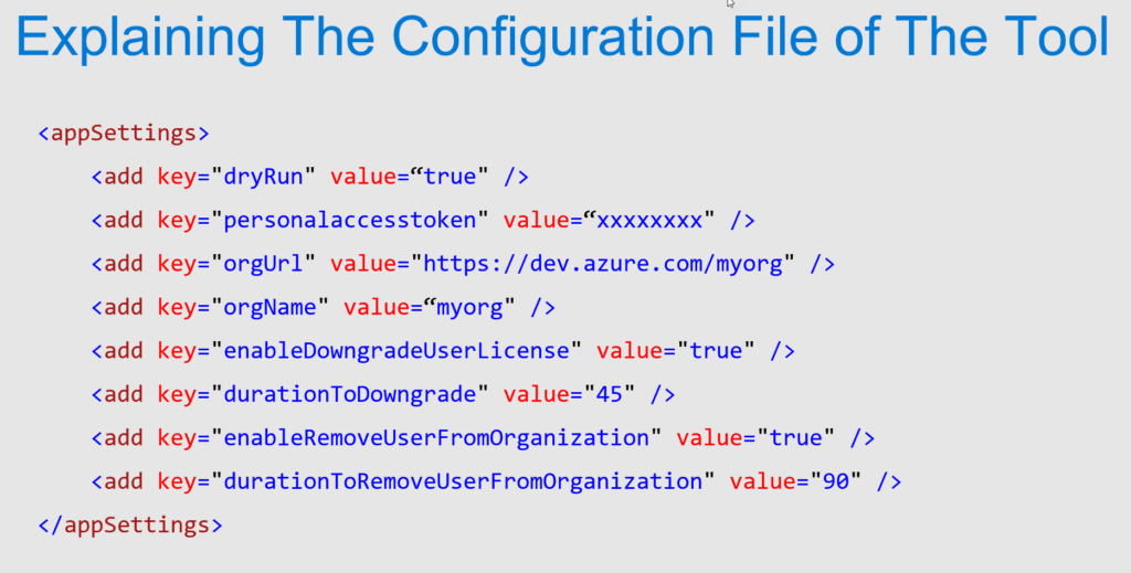 Explaining The Configuration File of Recycling License for Azure DevOps