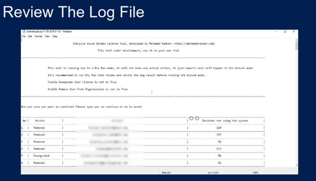 Review the log file of Recycling License for Azure DevOps
