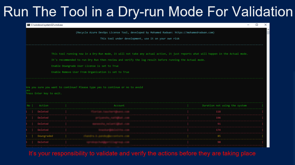 Run The Tool in a Dry-run Mode For ValidationRecycling License